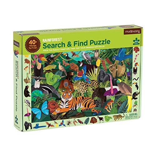 Mudpuppy Galison Rainforest Search & Find Jigsaw Puzzle, Ages 4-7 - Exotic Animal Artwork, 64Piece, 22 X 17.25 Size