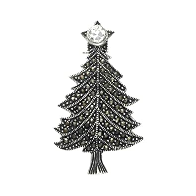 Lovely Sterling Silver U0026 Marcasite Christmas Tree Pin With Crystal Tree Topper