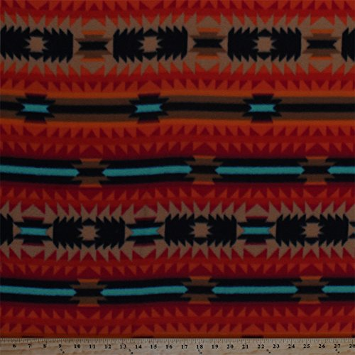 Fleece Southwestern Stripes Crimson Red Orange Brown Turquoise Black Southwest Native American Aztec Tribal Crimson Arrow Striped Fleece Fabric Print by the Yard ()