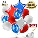 4th of July Balloons Decorations - Independence Day Patriotic Balloons- Foil Stars and latex Balloons Bouquet - 15 pieces, 12 and 18 inches + 2 ribbons - By LujokaBalloons