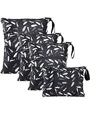 WD&CD natte tas, 4 STKS doek luier natte zakken waterdichte herbruikbare natte droge tas voor baby luier reizen strand zwembad dagopvang gym zwart