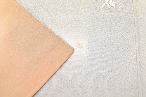 リサイクル 小紋 中古 正絹 縮緬 こもん 桜輪文様 特選 刺繍 裄63.5cm グレー系 裄Mサイズ 身丈Mサイズ ll0325a50