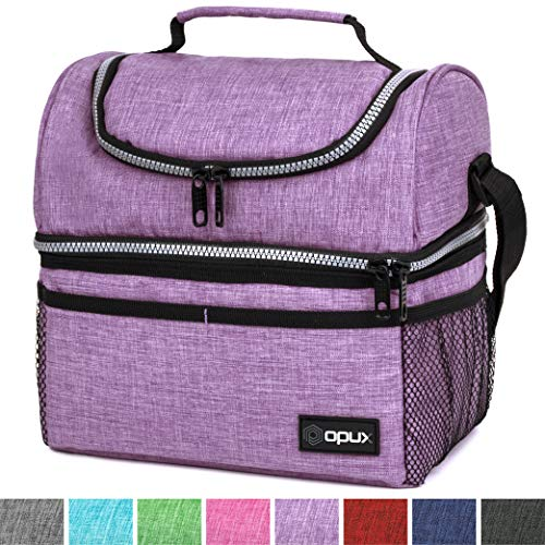 Purple Box Lunch - Thermal Insulated Dual Compartment Lunch Bag for Men, Women | Double Deck Reusable Lunch Box with Shoulder Strap, Leakproof Liner | Medium Lunch Box for School, Work, Office (Heather Purple)