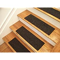 Essential Carpet Stair Treads - Style: Berber - Color: Charcoal Black - Size: 24 x 8 - Set of 13