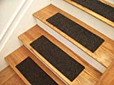 Essential Carpet Stair Treads - Style: Berber - Color: Charcoal Black - Size: 24'' x 8'' - Set of 15
