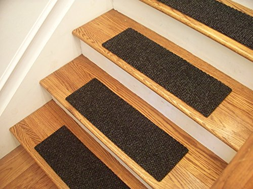 Essential Carpet Stair Treads - Style: Berber - Color: Charcoal Black - Size: 24'' x 8'' - Set of 15 by Essential Specialty Products