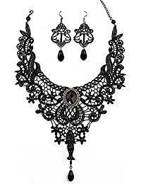 Black Lace Necklace Earrings Set - Gothic Lolita Pendant Choker Clothing Accessories for Wedding Birthday Hallowen Christmas Custume