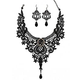 Amupper Black Lace Necklace Earrings Set – Gothic Lolita Pendant Choker Clothing Accessories For Wedding Birthday…