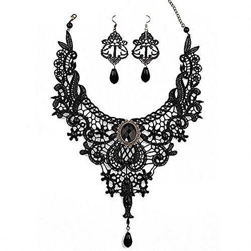 Amupper Black Lace Necklace Earrings Set - Gothic Lolita Pendant Choker Clothing Accessories for Wedding Birthday Hallowen Christmas -