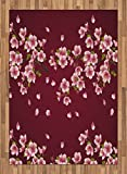 Maroon Area Rug by Lunarable, Japanese Sakura Tree Branches in Full Blossom Scattered Petals Asian Spring, Flat Woven Accent Rug for Living Room Bedroom Dining Room, 5.2 x 7.5 FT, Pink Maroon Green