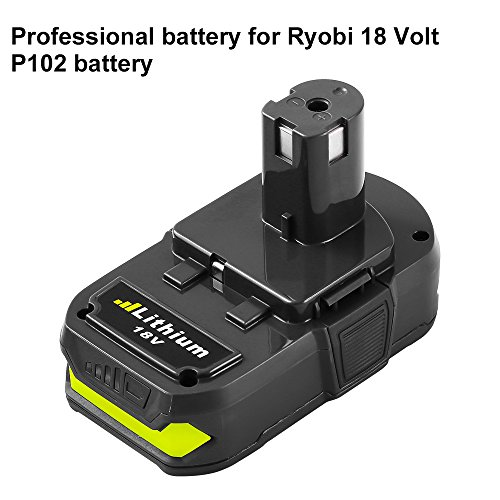 Replace for Ryobi 18v 2500mAh Lithium Ion Battery One+ Plus P102 P100 P103 P122 P104 P105 P107 P108 P109 Cordless Tools by SUN POWER