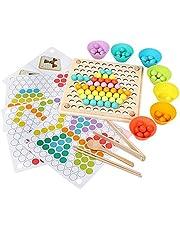 Montessori Speelgoed, houten clip kralen bordspel, houten go-spelset, Color Row Montessori bordspel, Rainbow Bead Game, Wooden Go Games set, kinderen handen ogen hersenen training puzzel board