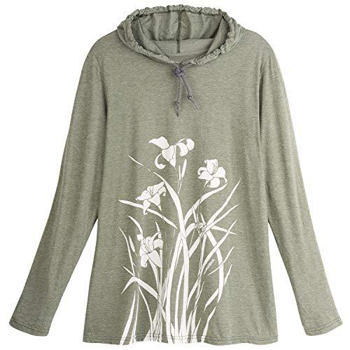 (MARUSHKA HANDPRINTS Women's Lilies Print Hooded T-Shirt - White Long Sleeve Tee - Medium)