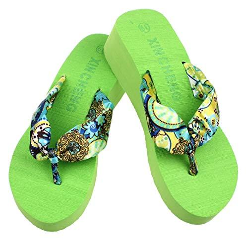 E40 Peach - MEIZOKEN Wedge Platform Thong Flip Flops Sandals Shoes Beach Slippers Summer Indoor & Outdoor Slip-On Casual Shoes S Light Green