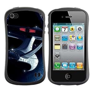 LASTONE PHONE CASE / Suave Silicona Caso Carcasa de Caucho Funda para Apple Iphone 4 / 4S / The Enterprise Space Ship