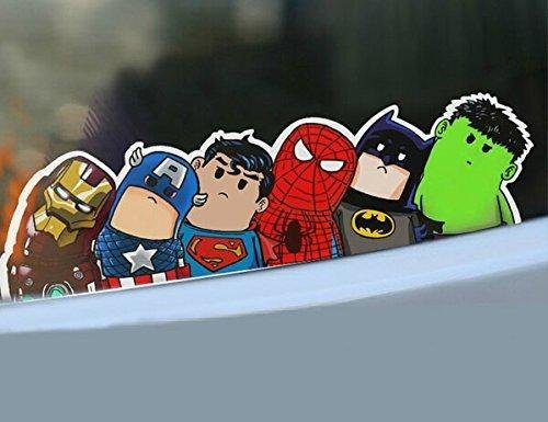 Cute car stickers safety warning racing decal docer body reflective save world hero cartoon wry crooked neck home office art avengers amazon co uk kitchen