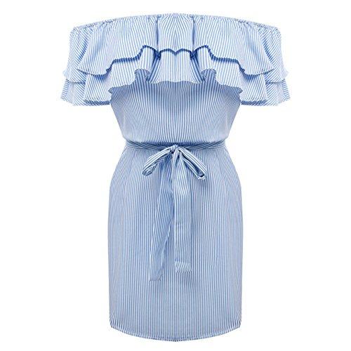 D-Pink - Vestido - trapecio - Sin mangas - para mujer Azul