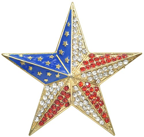 (Patriotic Red Gold Blue USA American Rhinestone Flag Star Pin Brooch 4th of July Independence Day Gift)