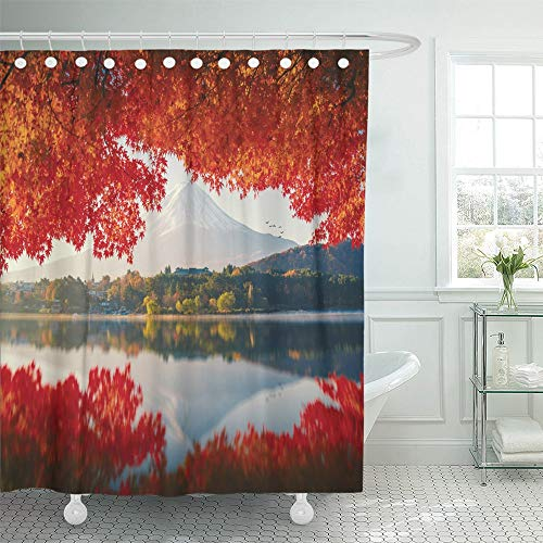 Fuji Acrylic Tub - Emvency Shower Curtain Waterproof Adjustable Polyester Fabric Red Japan Mt Fuji in Autumn on Sunrise at Lake Kawaguchiko Fall Landscape River 72 x 78 Inches Set with Hooks for Bathroom