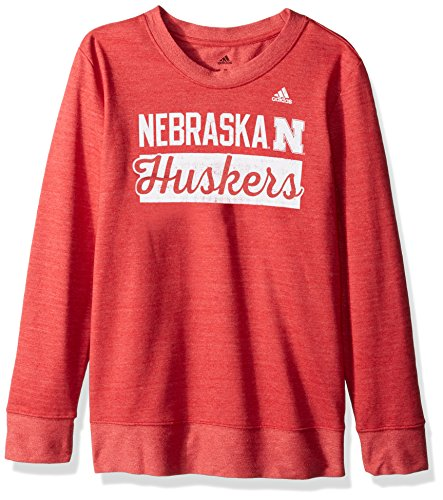 Huskers Women's Stacked bar Script Comfy Crew Sweat Shirt, Medium, Power Red Heathered (Nebraska Huskers Sweatshirt)
