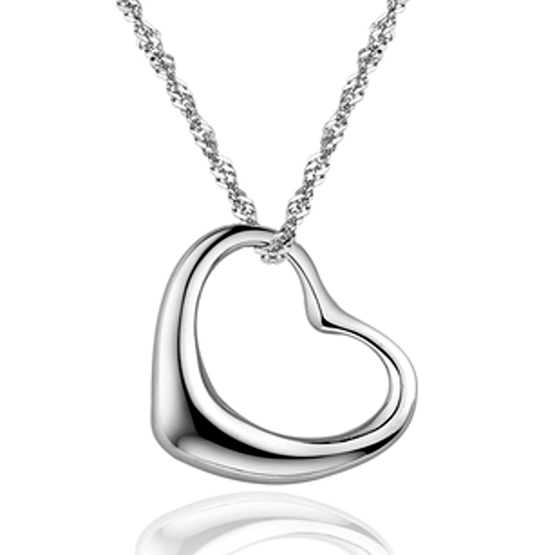 SWEETIE 8 ''Simple Heart'' White Gold Plated Silver Pendant Necklace 16'' for Women - Shiny Top Quality Jewelry for Party, Wedding or Casual Use - Great Gift for Girls or Lady| Gift Box Included