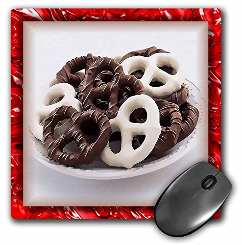 3dRose 8 x 8 x 0.25 Inches Mouse Pad, Chocolate Pretzels (mp_28752_1)