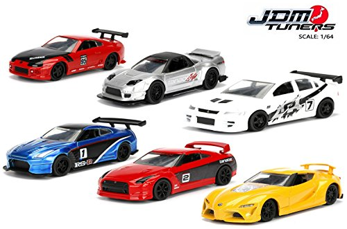 Jada 1:64 Metal JDM Tuners Wave 1B Assortment 6pc Diecast Car Set IN BLISTER PACKS (Mitsubishi Lancer Evo 2 Fast 2 Furious)