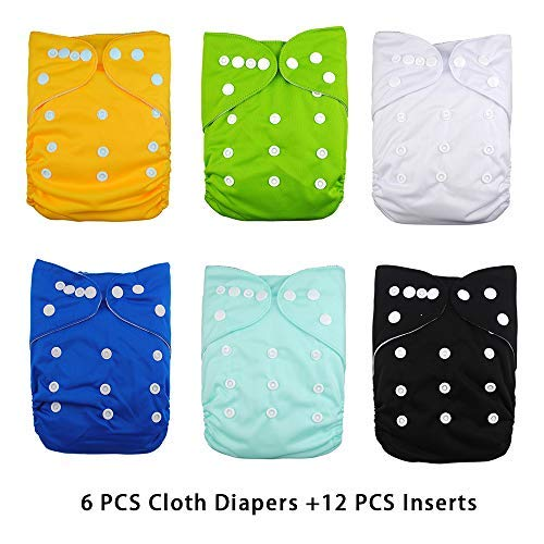 DoDo Bear Baby Cloth Diapers 6 PCS + 12 Inserts Adjustable Washable and Reusable Pocket Diapers for Baby Girls,(Sets 5)