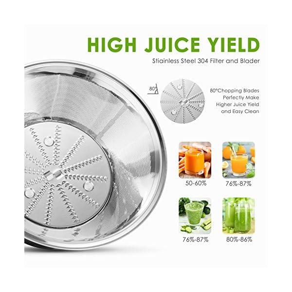 Aicok Centrifuga Frutta e Verdura 3 Velocità Estrattore di Succo a Freddo con 65MM Bocca Larga, Piedi Anti-scivolosi e… 2