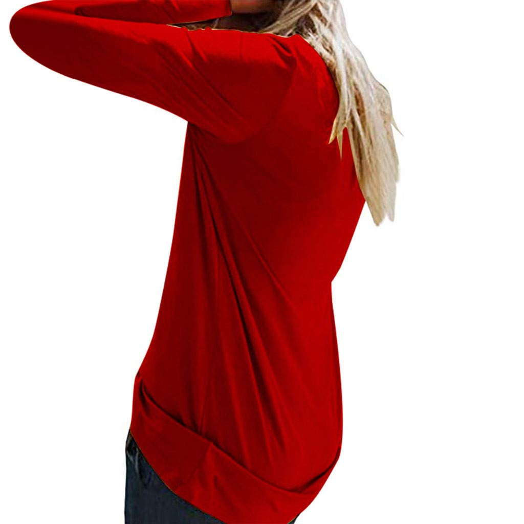 Sweatshirt Femme Imprimé,Solike Pullover Blouse Sweaters Noël Grande Taille Christmas Top Tricoté Manches Longues Rouge-11