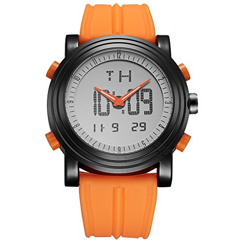 SINOBI Men's Analogue Digital Watch LED Multifunctional wrist watch with Alarm Stopwatch and Orange Rubber (Rubber Strap Dive Watch)