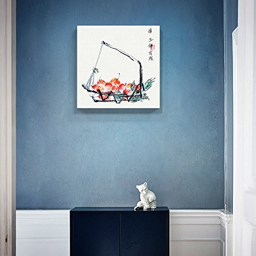 Square Watercolor Style Chinese Painting of a Basket of Cherries