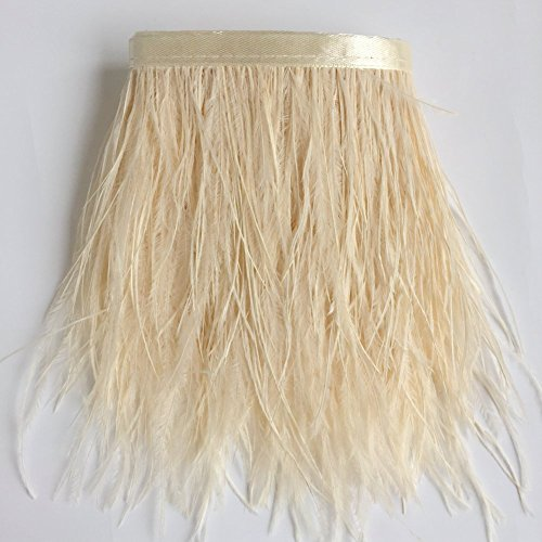 KOLIGHT Pack of 5 Yards Natural Dyed Ostrich Feathers 4~6 inches(10~15cm) Trim Fringe for DIY Dress Sewing Crafts Costumes Decoration (Ivory Satin Trim)