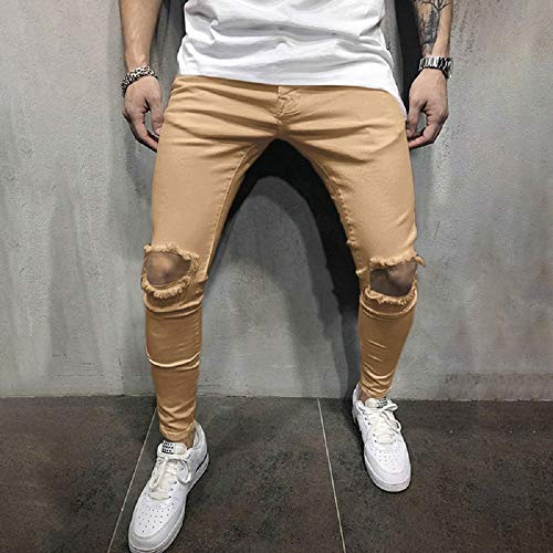 Rera Stretch Mode Street Slim Skinny Hop Biker Troué Hip Jeans Kaki Hommes Pantalon aSa6qBO