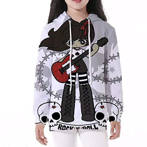 My Sky Unisex Boys Girls 3D Print Graphic Sweatshirts Pullover Hooded Kids Hoodies with Pocket4-13Y (Guitar Girl, Size S Fit 3-4 Years)