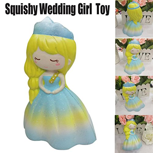 Girls Princess Puff (Jumbo Slow Rising squishies Toys,Sefter 14cm Squishy Wedding Puff Skirt Dress Princess Girl Squeeze Cream Scented Decompression Toys (Yellow))