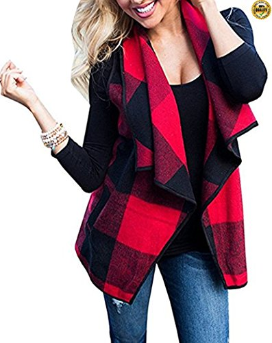 Greentree Women's Loose Fit Short Sleeve Cashmere Knitted Cardigan Sweaters Outerwear With Pocket (Black Red, (Cotton Cashmere Sweater Vest)