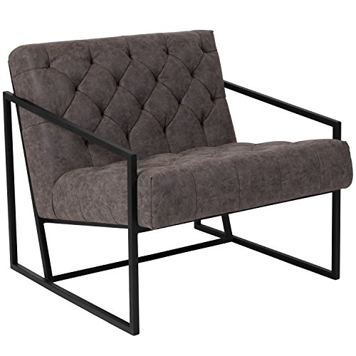 Flash Furniture HERCULES Madison Series Retro Gray Leather Tufted Lounge Chair