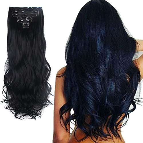 Lelinta 7Pcs 16 Clips 24 Inch Wavy Curly Full Head Clip in on Double Weft Hair Extensions, Dark Black, 24 Inch -