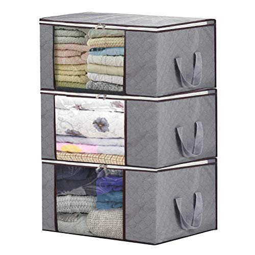 Storage Bag Organizers,Large Two-way Ziplock Clothing Tole Transparent Window Underbed Storage for Clothes Blanket Bedding More 3 Piece Set(Grey)