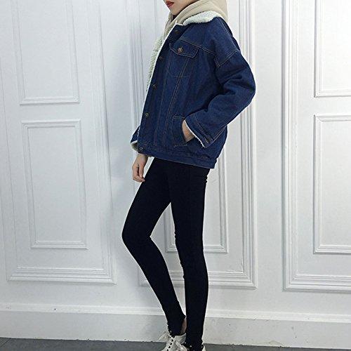 Blu Denim Marino Donna Giacche Caldo Cappotto Capispalla Cappotti di Inverno Jeans Giacca PUF4qa
