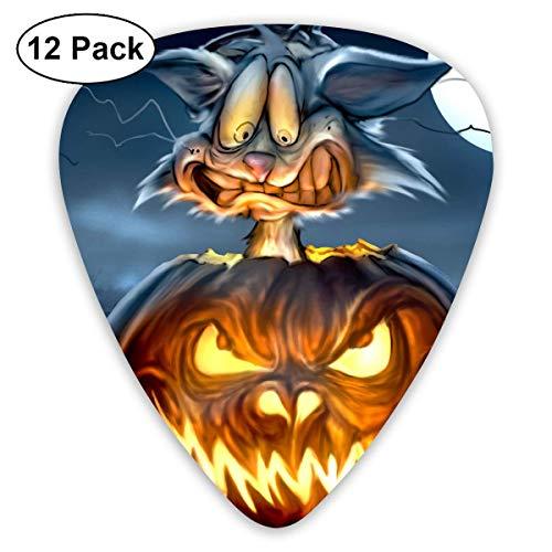 Anticso Custom Guitar Picks, Halloween Evil Pumpkin Lantern Frightening Cat Guitar Pick,Jewelry Gift For Guitar Lover,12 Pack