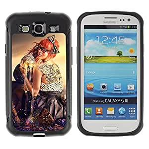 ZeTech Rugged Armor Protection Case Cover - Abstract Skull & Tattoo Art - Samsung Galaxy S3