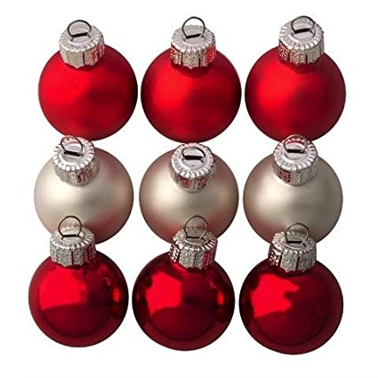 mini glass ball christmas ornaments 25mm 9 pack red silver mix