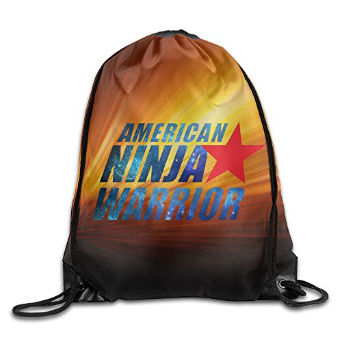 Creative Design American Ninja Warrior Logo Drawstring Backpack Sport Bag For Men And Women