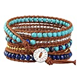 KELITCH Handmade Wrap Bracelets for Women Created-Turquoise Braided Bracelet on Brown Leather