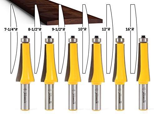 Yonico 13601 ギターフィンガーボードR面取りルータビットセット、シャンク径12.7mm (1/2インチ)