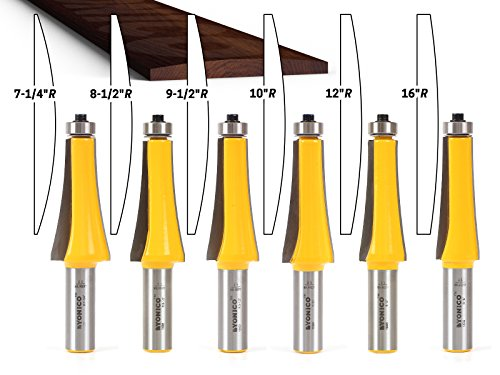 Yonico 13601 Guitar Finger Board Radiusing Router Bit Set with 1/2
