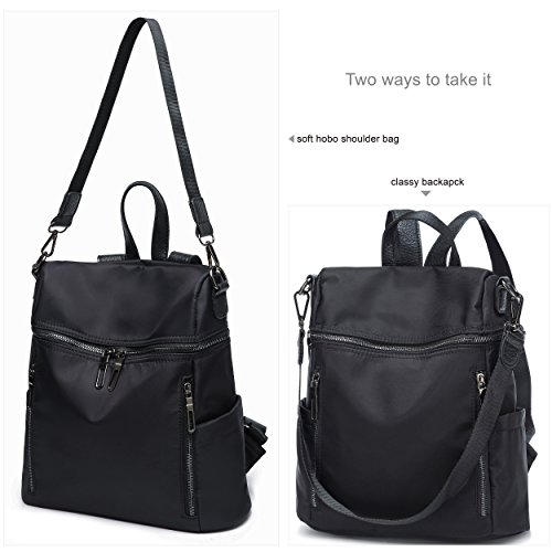 for Backpacks Black Women Waterproof Stylish Nylon Casual Satchel Shoulder Rucksack Hobo IWHqT