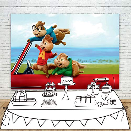 Red Car Alvin and The Chipmunks Cartoon Background Backdrop 7x5ft Vinyl Photo Background Tabletop Banner Customized Photo Studio Backdrops -